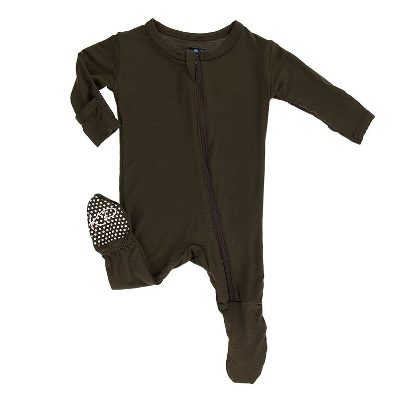 KicKee Pants Zipper Basic Footie- Bark-Baby Boy Apparel - One-Pieces-KicKee Pants-Newborn-Eden Lifestyle