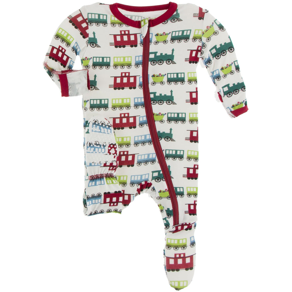 Kickee Pants - Print Footie with Zipper - Natural Toy Train