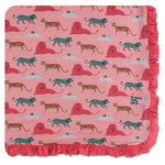 Kickee Pants - Print Ruffle Toddler Blanket - Strawberry Big Cats