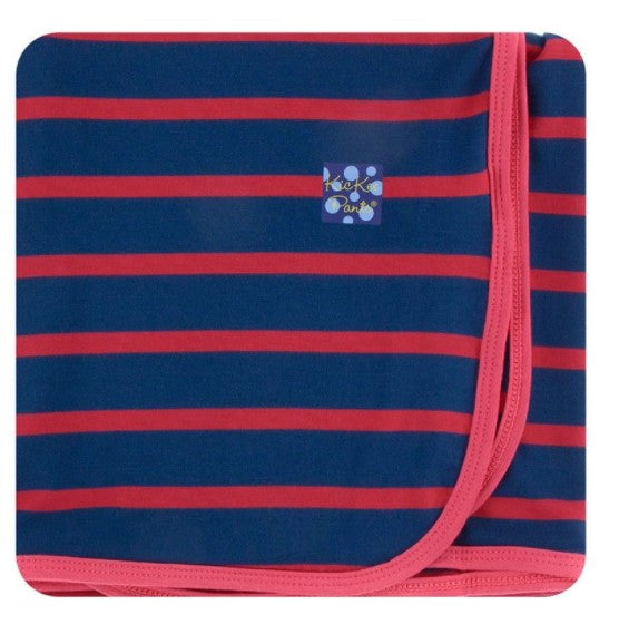Kickee Pants - Print Swaddling Blanket - Everyday Heroes Navy Stripe