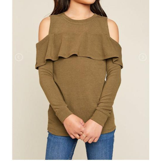 Kiki Cold shoulder sweater - Olive-Girl - Shirts & Tops-Hayden LA-7-Eden Lifestyle