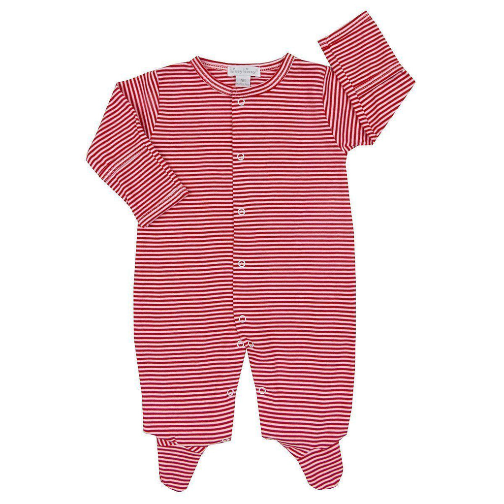Kissy Essentials Stripe Footie-Baby Boy Apparel - One-Pieces-Kissy Kissy-0-3M-Eden Lifestyle