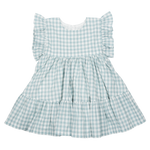 Pink Chicken Kit Dress Dusty Teal Gingham