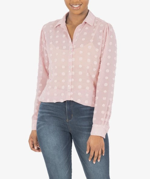 KUT from the Kloth - BILLA BUTTON DOWN SHIRT (ROSE)