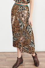 Week&, Women - Shirts & Tops,  Glitzy Animal Pleated Skirt