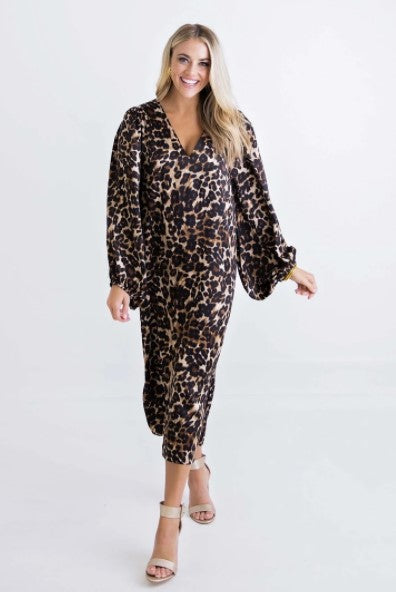 Karlie, Women - Dresses,  Leopard Satin Puff Sleeve Midi