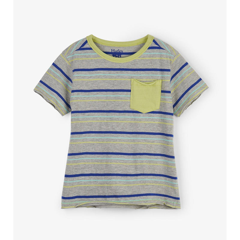 Hatley Lime and Blue Stripes Tee-Boy - Shirts-Hatley-3-Eden Lifestyle