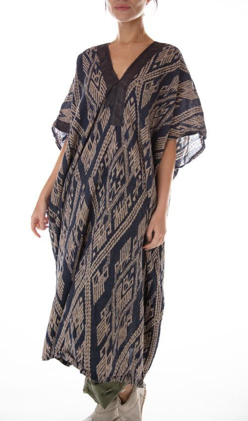 Magnolia Pearl Linen Veda Kaftan with Silk Details at Neck, Distressing, Fading and Mending