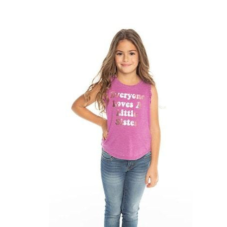 Chaser, Girl - Shirts & Tops,  Chaser Girls Little Sister Love Vintage Jersey Ruffle