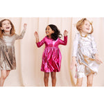 Pink Chicken, Girl - Dresses,  Pink Chicken Liza Lame Dress Pink Metallic