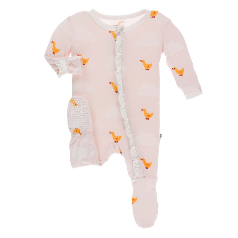 KicKee Pants - Muffin Ruffle Footie with Zipper - Macaroon Puddle Duck
