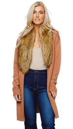 Buddy Love, Women - Outerwear,  Buddylove Mandy Faux Fur Collared Cardigan - Mocha