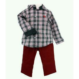 Maroon Plaid Shirt-Boy - Shirts-Frenchie Couture-2T-Eden Lifestyle