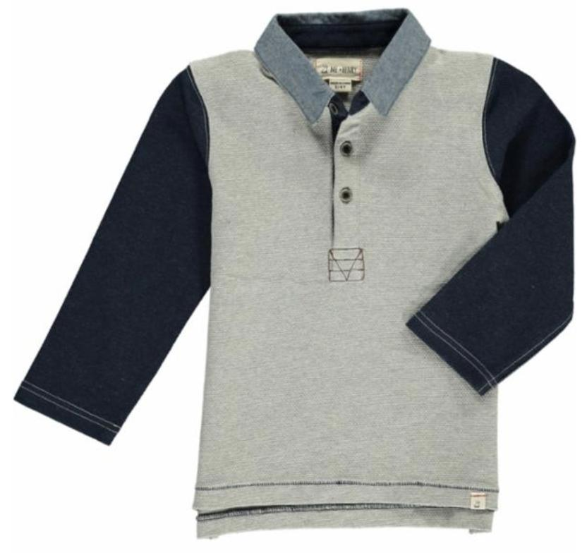 Me & Henry, Baby Boy Apparel - Shirts & Tops,  Me & Henry - Grey Rugby Shirt