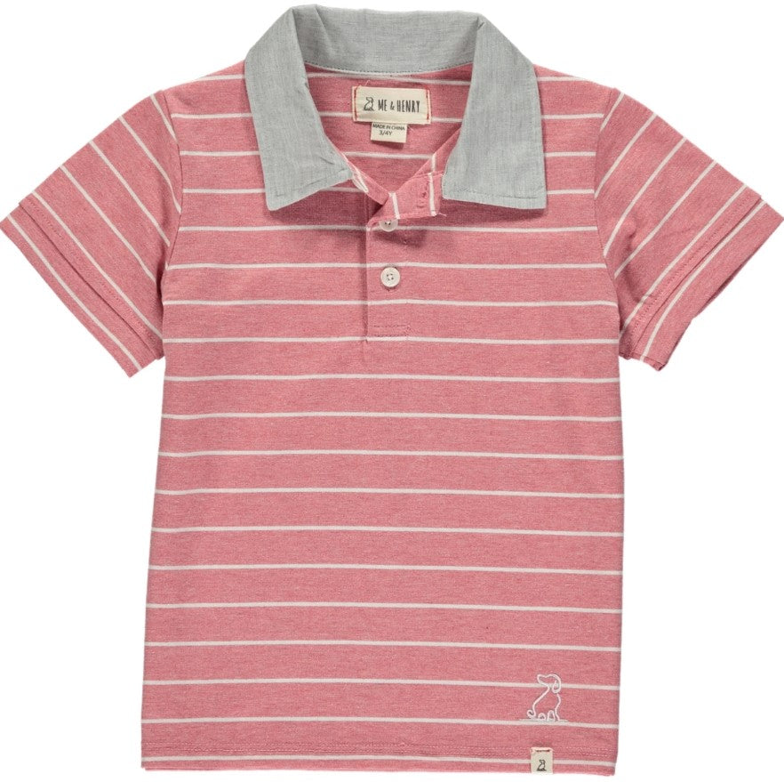 Me & Henry - Red/White Stripe Polo