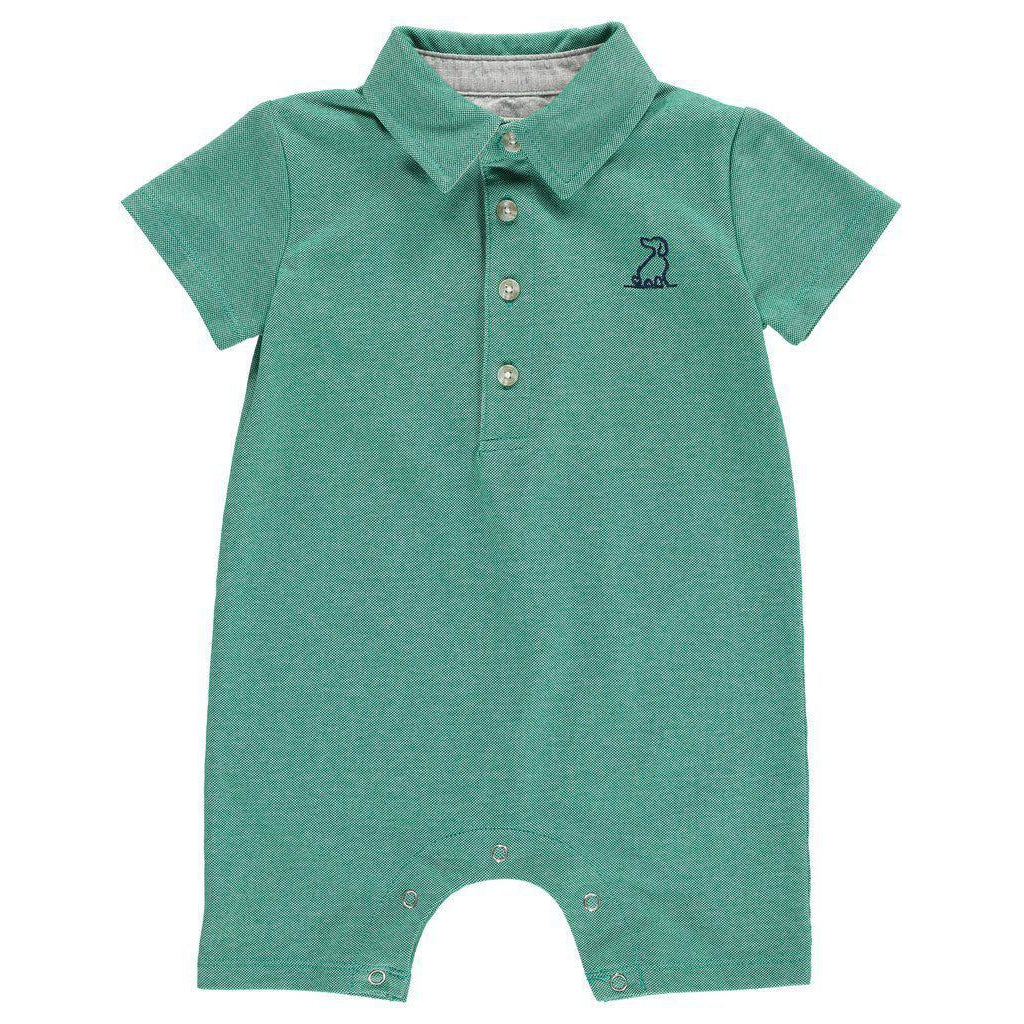 Me & Henry | Green Pique Polo Romper-Baby Boy Apparel - Rompers-Me & Henry-0/3M-Eden Lifestyle
