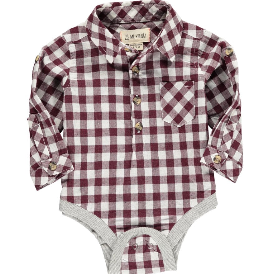 Me and Henry - Wine Plaid Woven Onesie