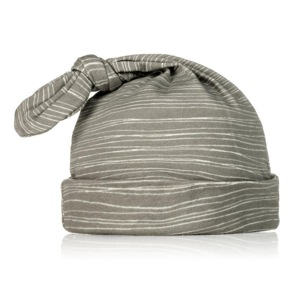 Milkbarn Knotted Hat - Gray Stripe-Accessories - Hats-Milkbarn-6-12M-Eden Lifestyle