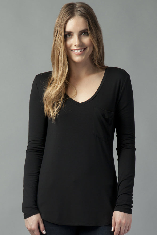Another Love, Women - Shirts & Tops,  Molly V-neck Long Sleeve Tee Black