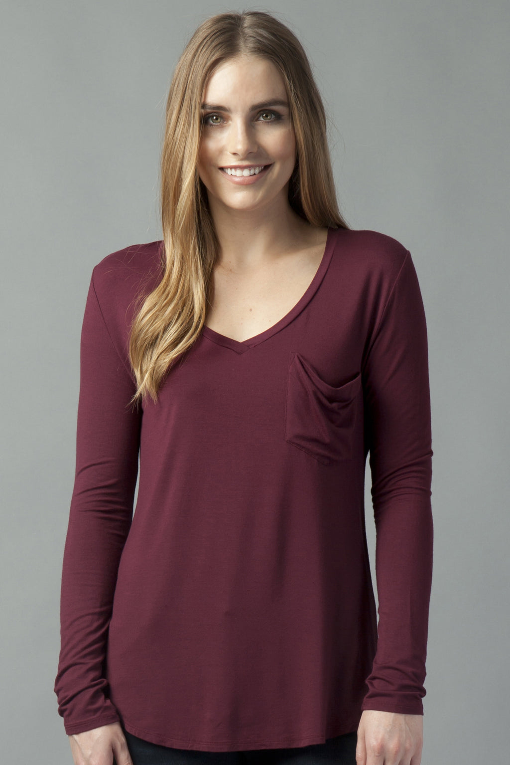 Molly V-neck Long Sleeve Tee Bordeaux