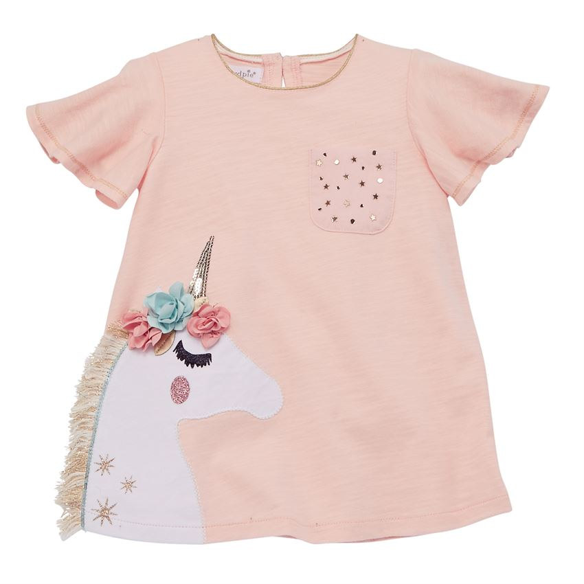 Mud Pie Pink Floral Unicorn Tunic-Girl - Shirts & Tops-Mud Pie-2-3T-Eden Lifestyle
