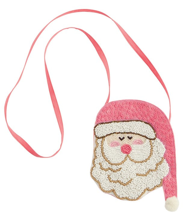 Mud Pie Pink Hat Santa Purse