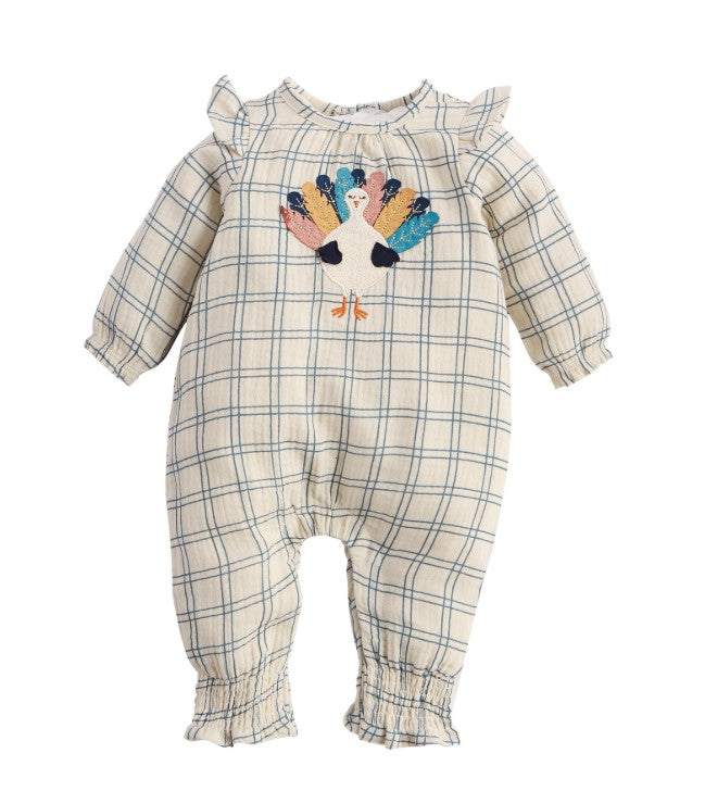 Mud Pie, Baby Girl Apparel - Rompers,  Mud Pie Turkey Ruffle One Piece