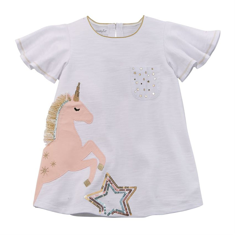 Mud Pie White Star Unicorn Tunic-Girl - Shirts & Tops-Mud Pie-2-3T-Eden Lifestyle
