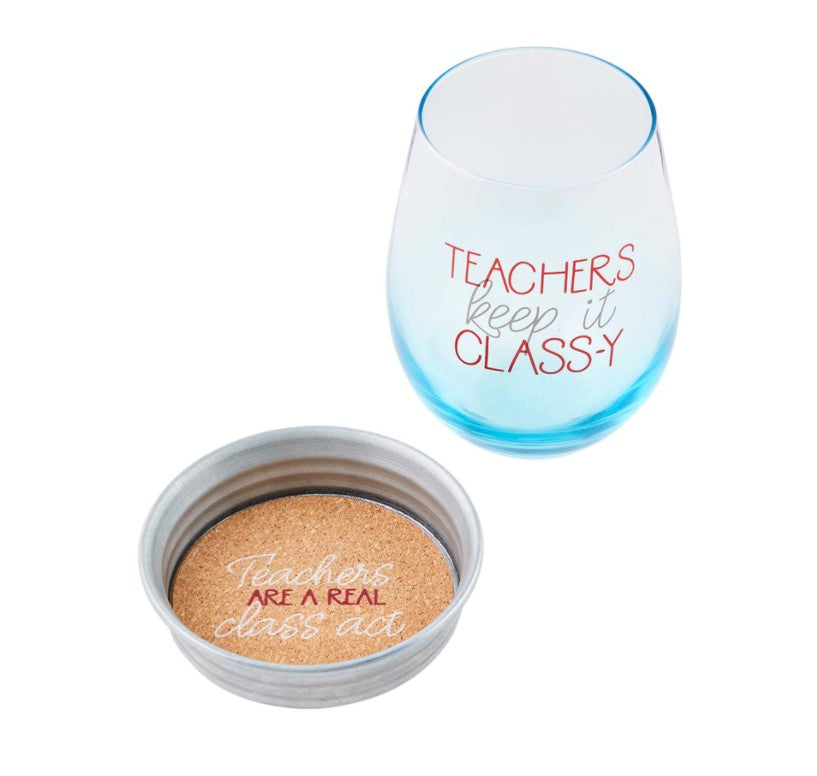 Mud Pie Class-y Teacher Wine Glass and Coaster Set - Eden Lifestyle