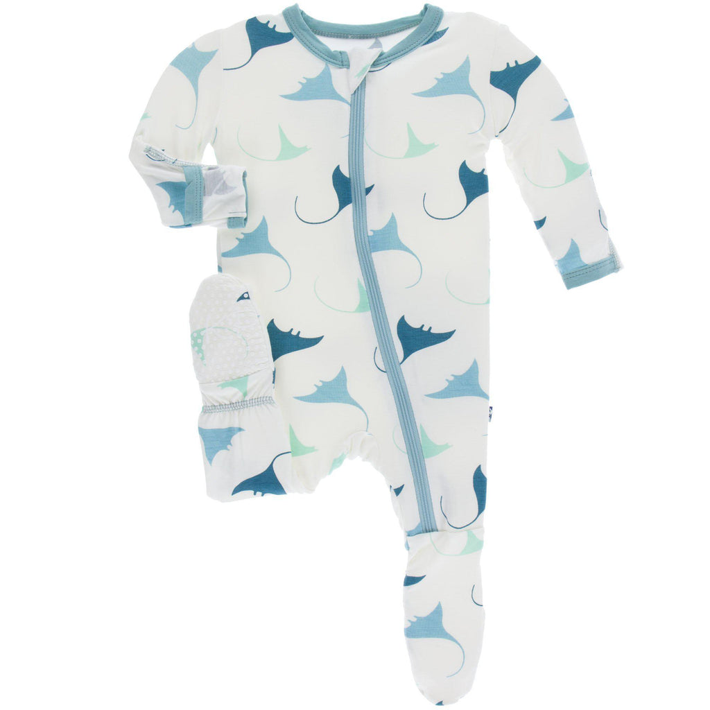 KicKee Pants - Footie w/Zipper Natural Manta Ray-Baby Boy Apparel - One-Pieces-KicKee Pants-0-3M-Eden Lifestyle
