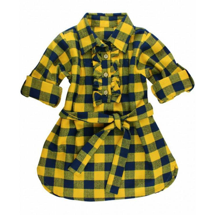 Navy & Mustard Buffalo Plaid Dress-Girl - Dresses-Ruffle Butts-2T-Eden Lifestyle