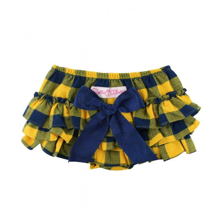 Navy & Mustard Buffalo RuffleButts-Baby Girl Apparel - Bloomers-Ruffle Butts-0-3M-Eden Lifestyle