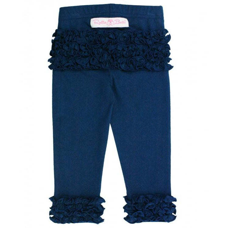 Navy Ruffle Leggings-Girl - Leggings-Ruffle Butts-2T-Eden Lifestyle