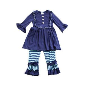 Navy Ruffle Set-Baby Girl Apparel - Outfit Sets-Eden Lifestyle-12-18M-Eden Lifestyle