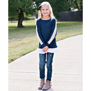 Navy Ruffle Sweater-Girl - Shirts & Tops-Ruffle Butts-2T-Eden Lifestyle