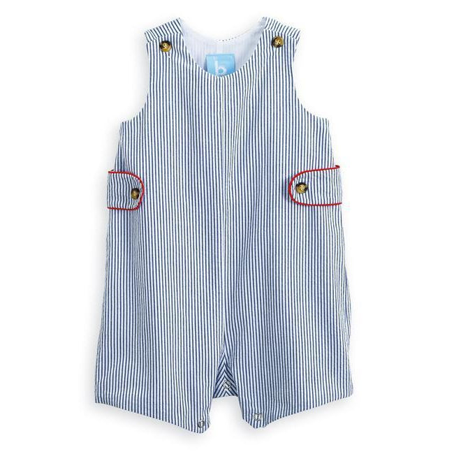 Navy Stripe Seersucker Webb Short All-Romper-Bella Bliss-6M-Eden Lifestyle