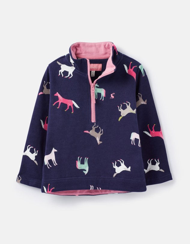 Joules Navy Horses Fairdale Half Zip Sweater