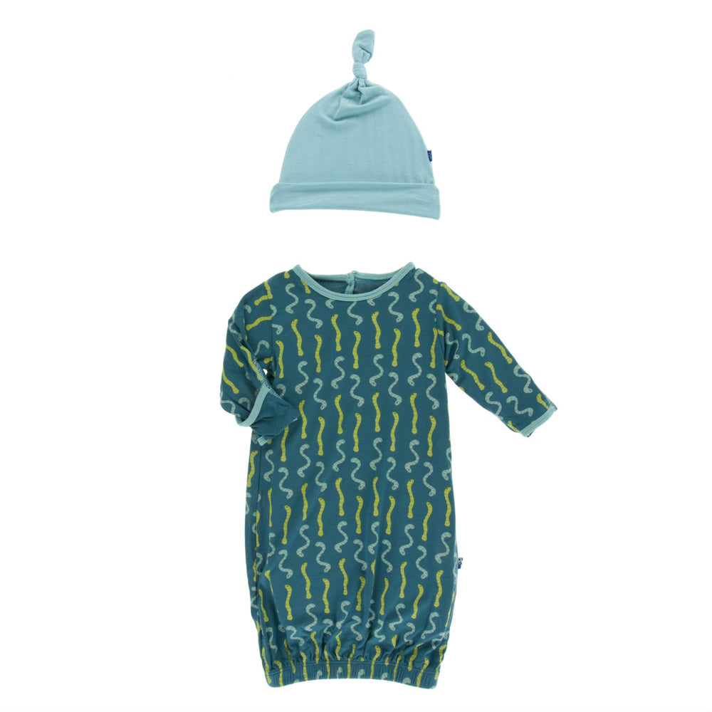 KicKee Pants, Baby Boy Apparel - Pajamas,  KicKee Pants - Layette Gown with Knot Hat Oasis Worms