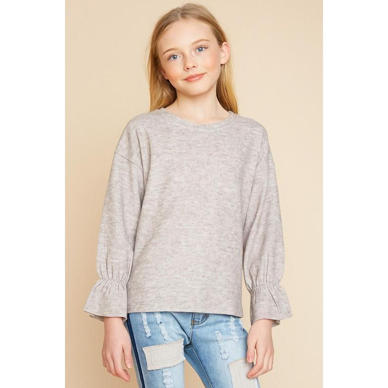 Oatmeal Bell Sleeve-Girl - Shirts & Tops-Hayden LA-7-Eden Lifestyle