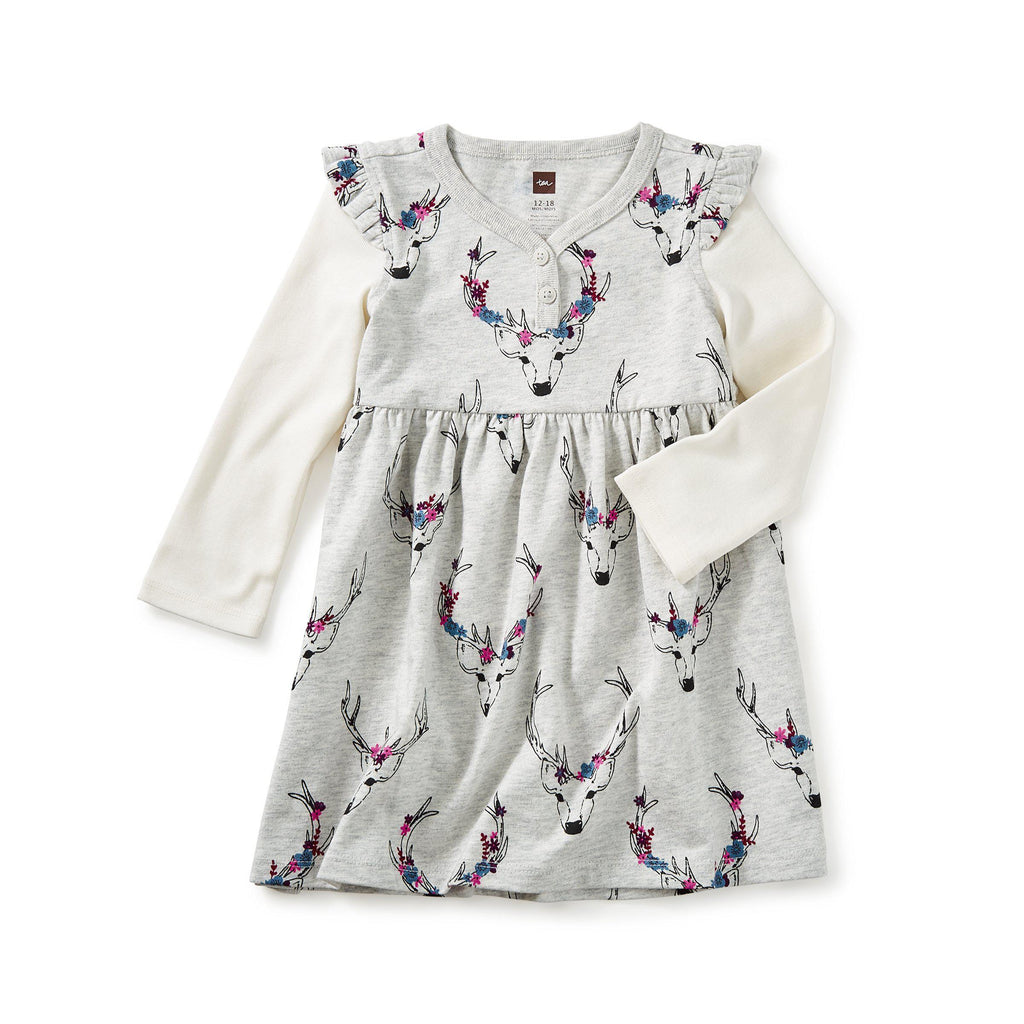 Oh Deer Baby Button Neck Dress-Baby Girl Apparel - Dresses-Tea Collection-9-12M-Eden Lifestyle