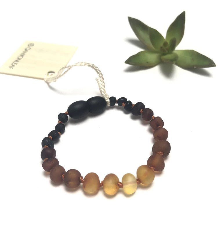 Canyon Leaf, Baby - Soothing,  Raw Ombre Amber Anklet or Bracelet