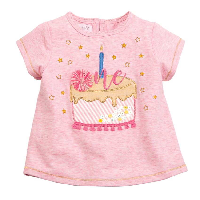 One Birthday Tee-Baby Girl Apparel - Shirts & Tops-Mud Pie-Eden Lifestyle