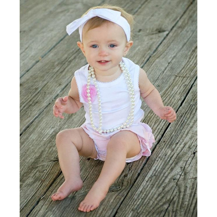 White w/ Pink Flower Tank Body Suit-Baby Girl Apparel - One-Pieces-Ruffle Butts-12-18M-Eden Lifestyle