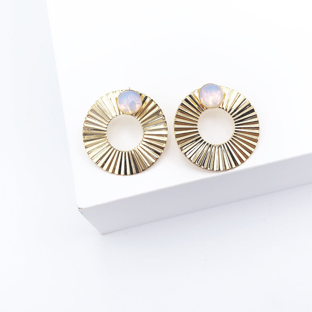 Eden LIfestyle, Accessories - Jewelry,  Oval Accodeon Opal Earring