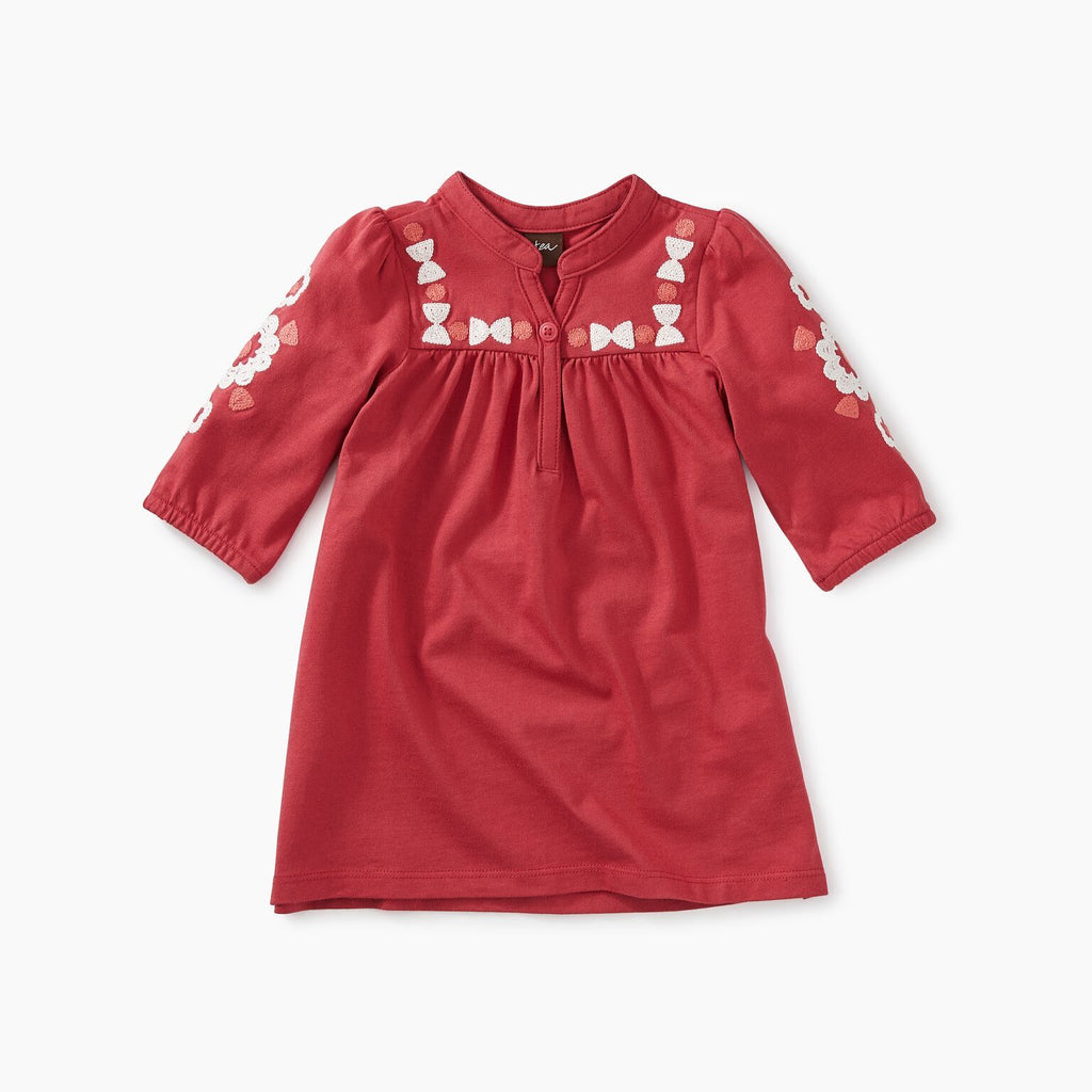 Pomegranate Embroidered Henley Dress