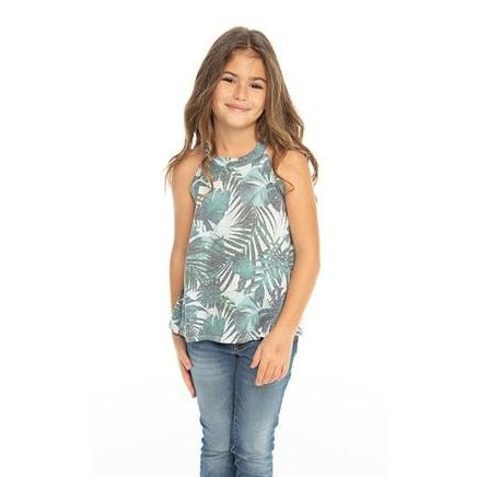 Chaser Girls Vintage Jersey Flouncy High Neck Tank Palm Print-Girl - Shirts & Tops-Chaser-4-Eden Lifestyle