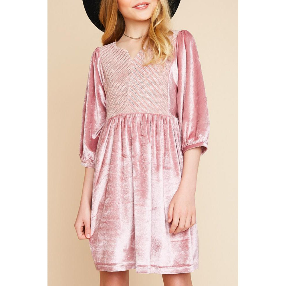 Pink Velvet Dress-Girl - Dresses-Hayden LA-7-Eden Lifestyle