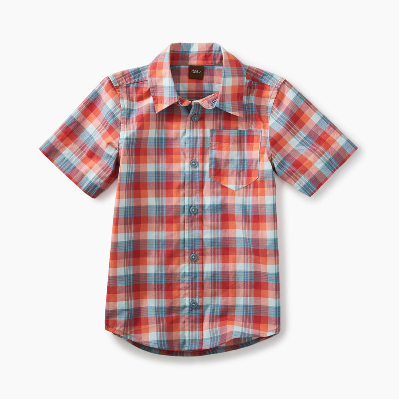 Plaid Short Sleeve Button Shirt-Boy - Shirts-Tea Collection-2-Eden Lifestyle