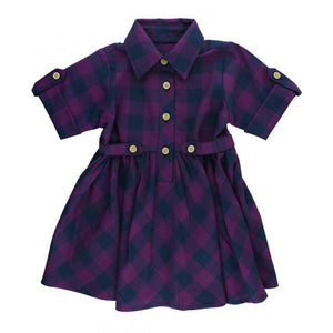 Plum Buffalo Check Dress-Girl - Dresses-Ruffle Butts-2T-Eden Lifestyle