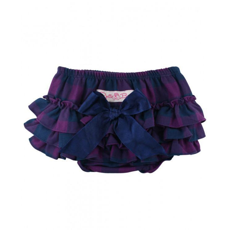 Plum & Navy Buffalo Check RuffleButts-Baby Girl Apparel - Bloomers-Ruffle Butts-0-3M-Eden Lifestyle